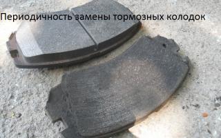 Периодичность замены тормозных колодок