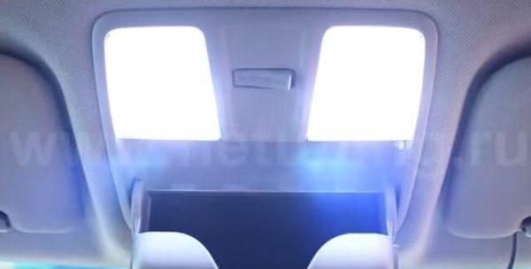 Пример работы светодионых ламп освещения салона Хендай Солярис